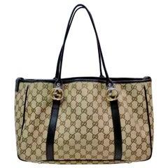 Gucci Brown Medium  Canvas GG  Guccissima Monogram Tote Handbag Purse ,Two Tone