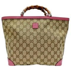 Gucci Brown Medium Pink Canvas GG  Guccissima Bamboo Tote Handbag Purse Kids