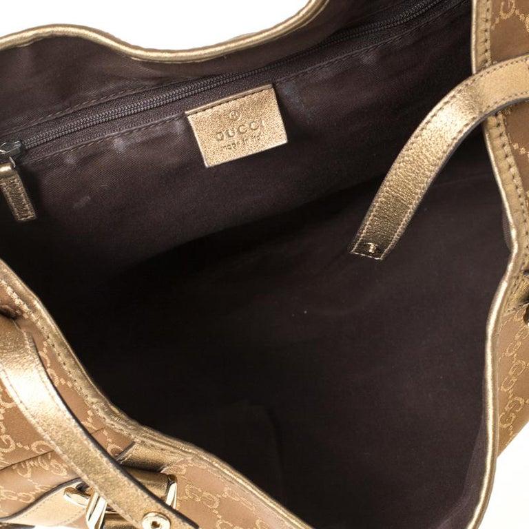 Gucci Brown/Metallic GG Canvas and Leather Medium Jacquard Pelham Shoulder Bag For Sale 6