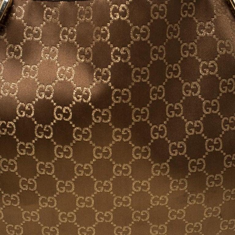 Gucci Brown/Metallic GG Canvas and Leather Medium Jacquard Pelham Shoulder Bag For Sale 7