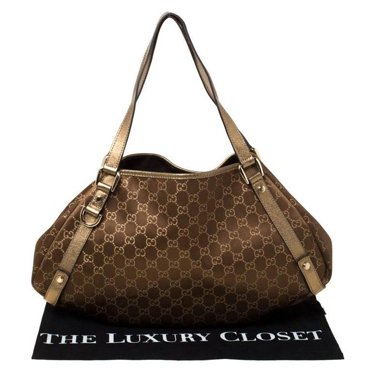 Gucci Brown/Metallic GG Canvas and Leather Medium Jacquard Pelham Shoulder Bag For Sale 8