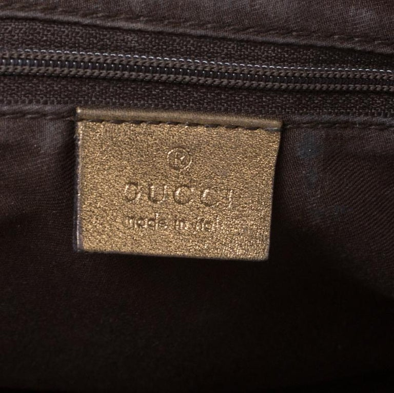 Gucci Brown/Metallic GG Canvas and Leather Medium Jacquard Pelham Shoulder Bag For Sale 1