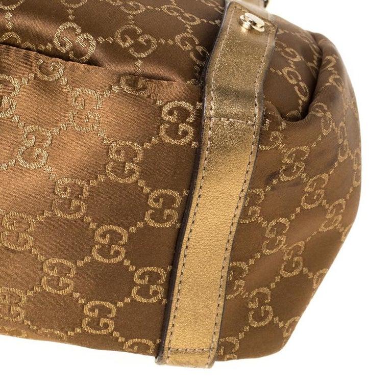 Gucci Brown/Metallic GG Canvas and Leather Medium Jacquard Pelham Shoulder Bag For Sale 2