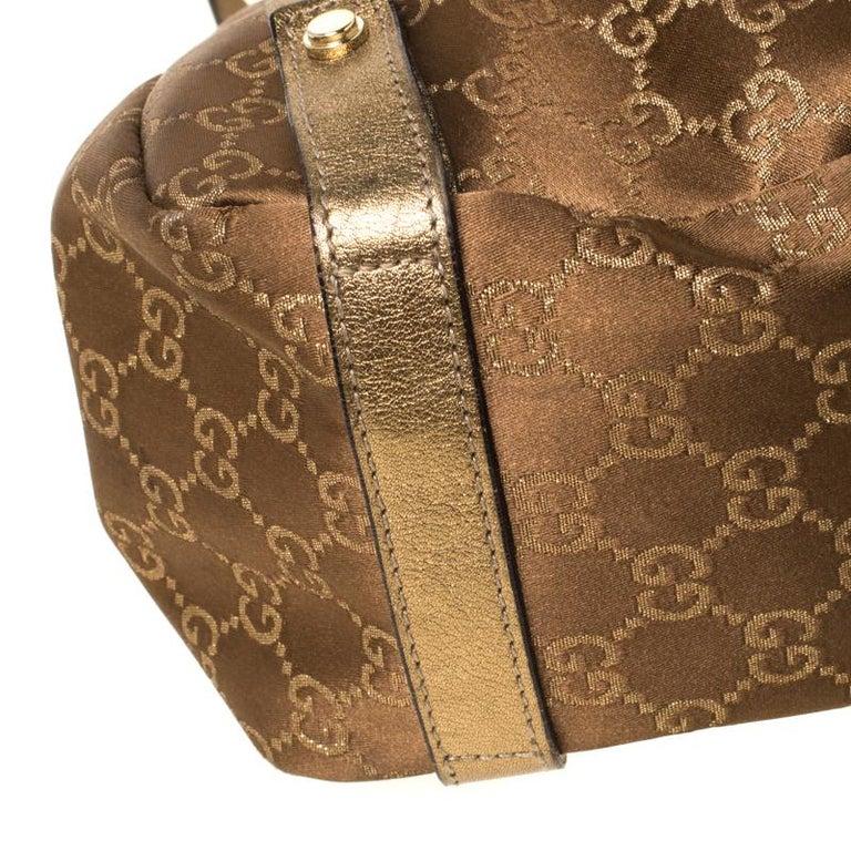 Gucci Brown/Metallic GG Canvas and Leather Medium Jacquard Pelham Shoulder Bag For Sale 3
