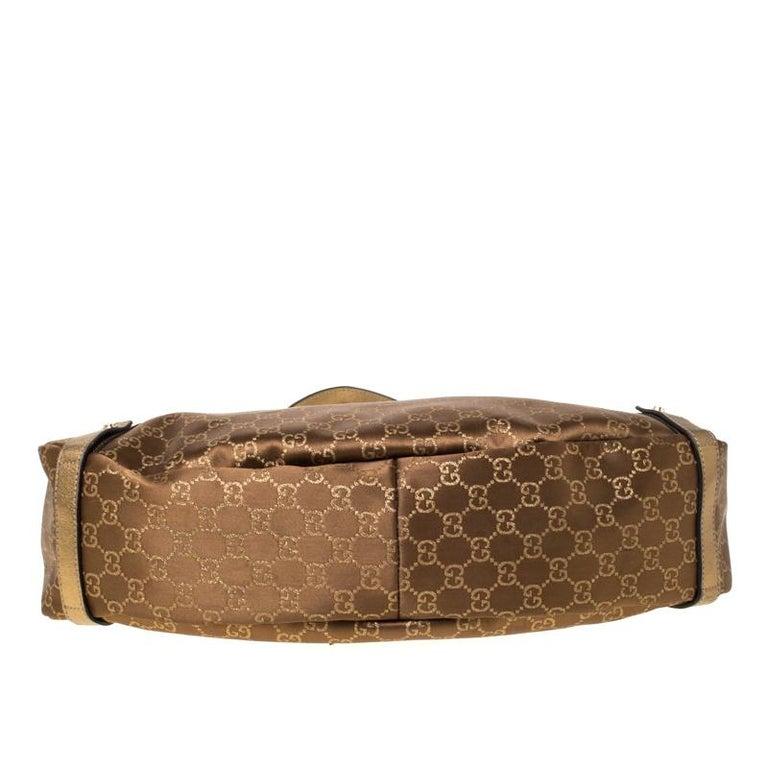 Gucci Brown/Metallic GG Canvas and Leather Medium Jacquard Pelham Shoulder Bag For Sale 4