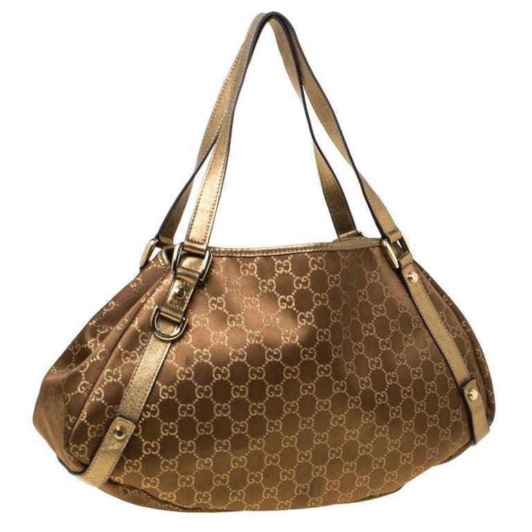 Gucci Brown/Metallic GG Canvas and Leather Medium Jacquard Pelham Shoulder Bag For Sale 5
