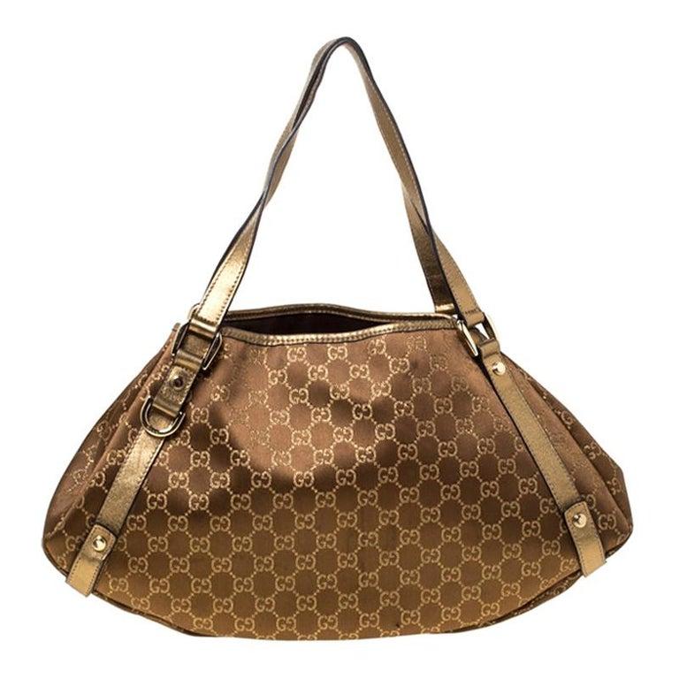 Gucci Brown/Metallic GG Canvas and Leather Medium Jacquard Pelham Shoulder Bag For Sale