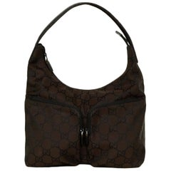 Gucci Brown Monogram Canvas Double Zip Pocket Shoulder Bag