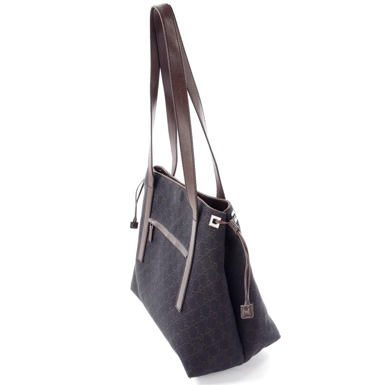 Medium Gucci Brown Monogram Canvas & Leather Tote Bag Handbag  In Excellent Condition For Sale In Portland, OR