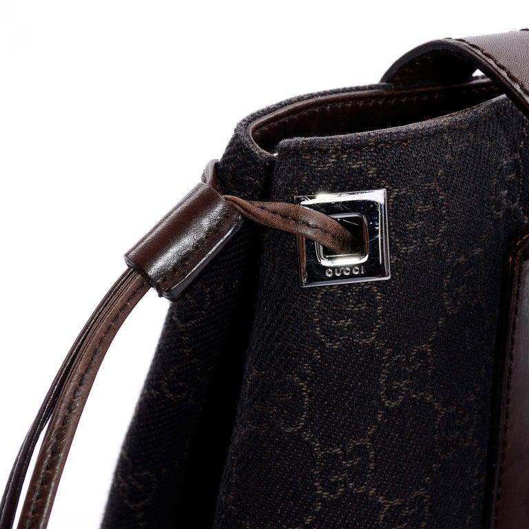 Medium Gucci Brown Monogram Canvas & Leather Tote Bag Handbag  For Sale 3