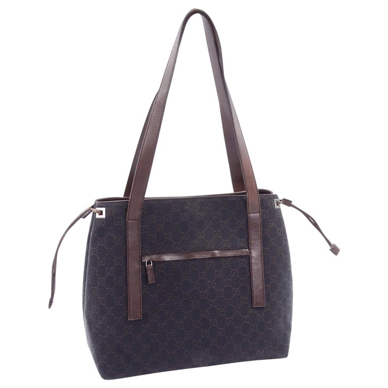 Medium Gucci Brown Monogram Canvas & Leather Tote Bag Handbag  For Sale