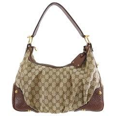 Gucci Brown Monogram Guccissima Jockey Hobo Medium Bag
