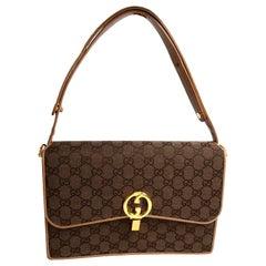 Gucci Brown Monogram Handbag Guccissima Vintage Bag