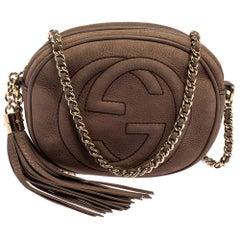Gucci Brown Nubuck Mini Soho Disco Chain Crossbody Bag