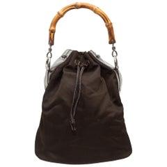 Gucci Brown Nylon Bamboo Handle Bucket Bag