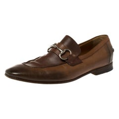 Gucci Brown Ombre Leather Horsebit Loafers Size 41.5E