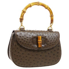 Gucci Brown Ostrich Bamboo Exotic Kelly Style Top Handle Satchel Shoulder Bag
