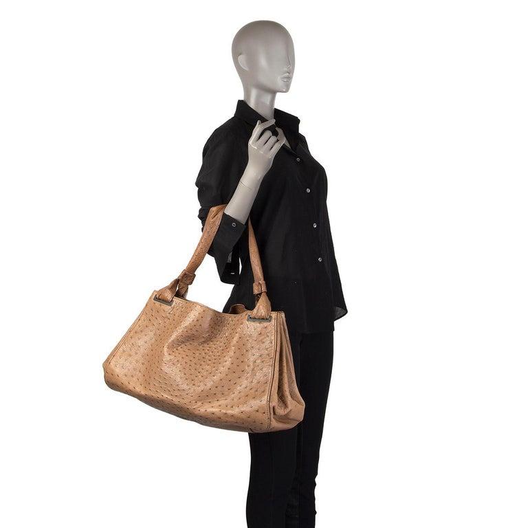 GUCCI brown Ostrich leather LARGE Shoulder Bag For Sale 3