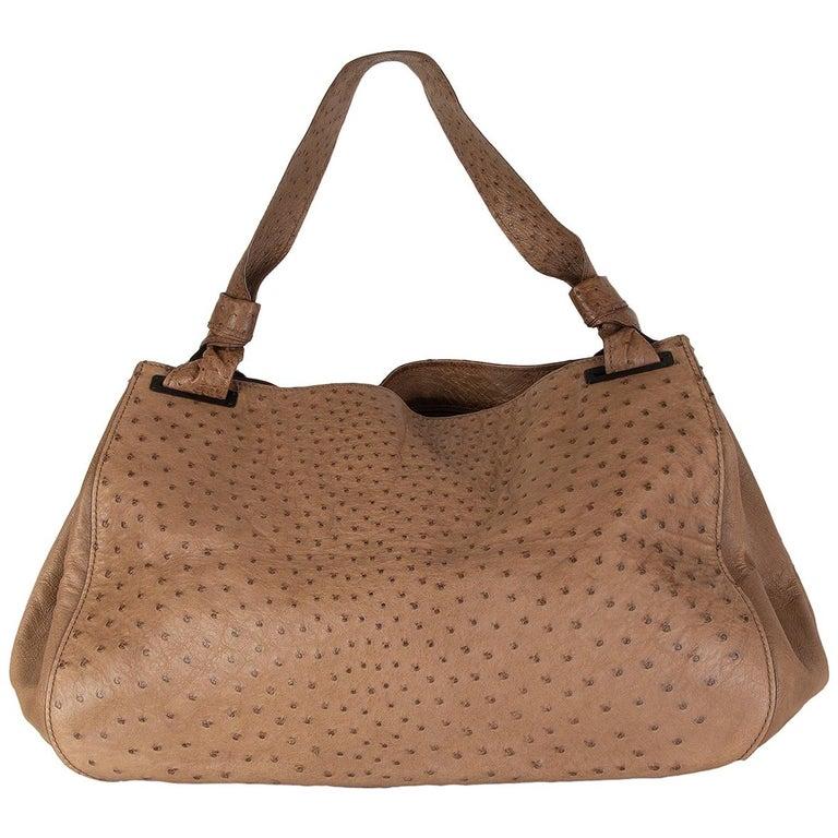 GUCCI brown Ostrich leather LARGE Shoulder Bag For Sale