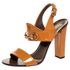 Gucci Brown Patent Leather Horsebit Sandals Size 40