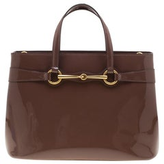 Gucci Brown Patent Leather Medium Bright Bit Top Handle Bag