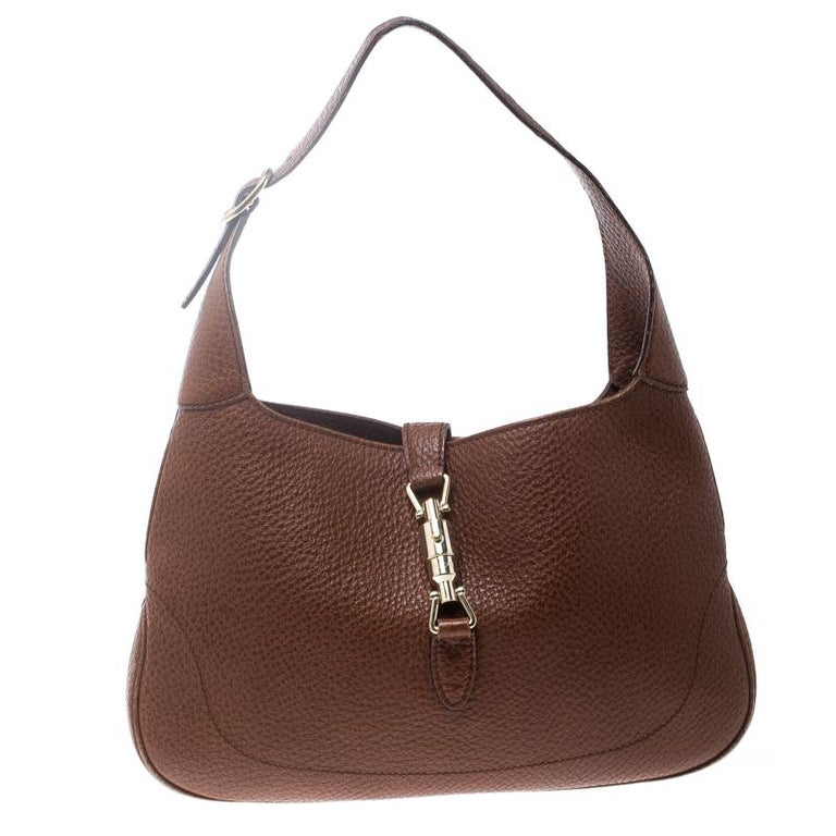 a9941d6b70849e Gucci Brown Pebbled Leather Medium Jackie Hobo For Sale at 1stdibs