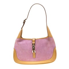 Gucci Brown/Purple Suede and Leather Jackie Shoulder Bag