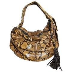 Gucci Brown Python Hobo Shoulder Bag With Tassel Zip Pull