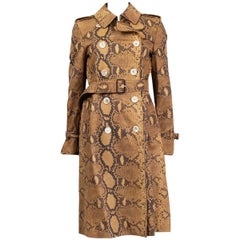 GUCCI brown PYTHON PRINT leather TRENCH Coat Jacket 44 L