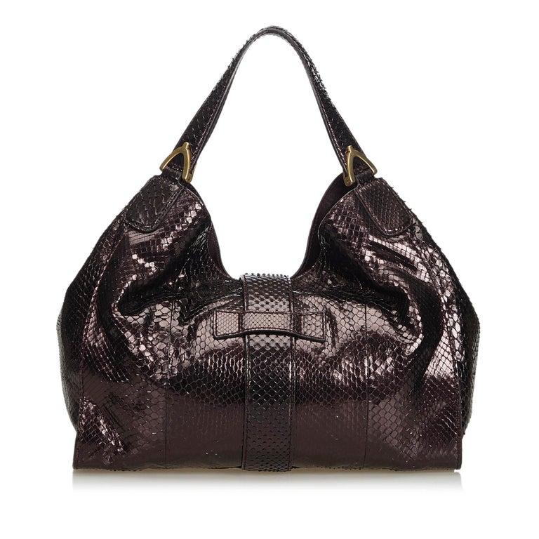 Black Gucci Brown Python Soft Stirrup Shoulder Bag For Sale