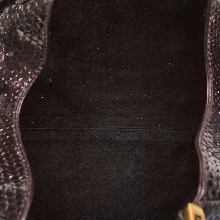 Women's Gucci Brown Python Soft Stirrup Shoulder Bag For Sale