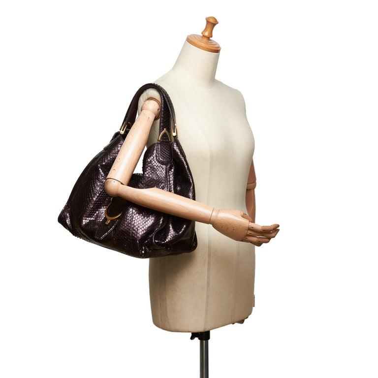 Gucci Brown Python Soft Stirrup Shoulder Bag For Sale 4