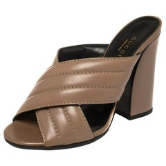Gucci Brown Quilted Leather Criss Cross Slide Sandals Size 36.5