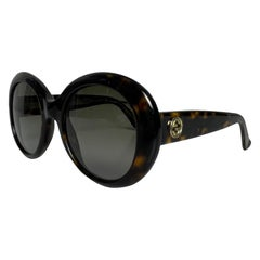 Gucci Brown Round Frame Sunglasses w/ Logo