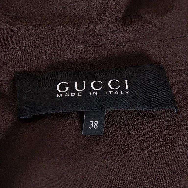 Gucci Brown Silk Crepe Button Down Belted Dress S For Sale 1