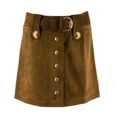 Gucci Brown Suede A-Line Mini Skirt IT 38 / US 0-2