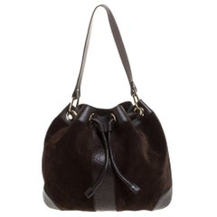 Gucci Brown Suede and Leather Drawstring Hobo