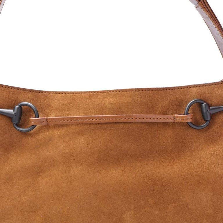 Women's Gucci Brown Suede and Leather Horsebit Shoulder Bag For Sale