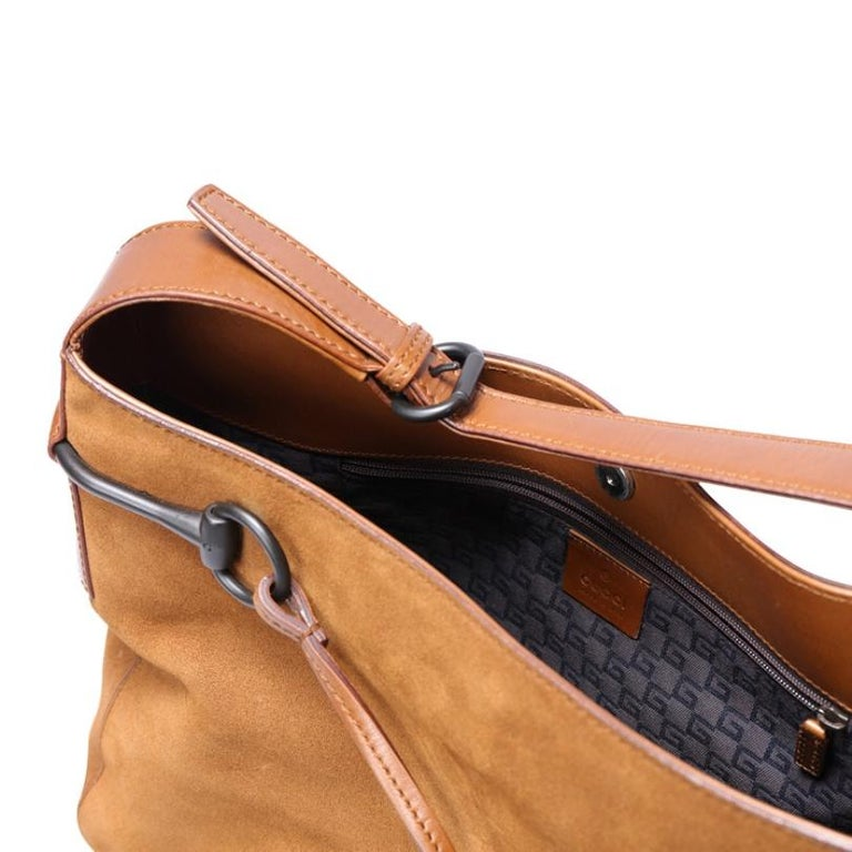 Gucci Brown Suede and Leather Horsebit Shoulder Bag For Sale 1