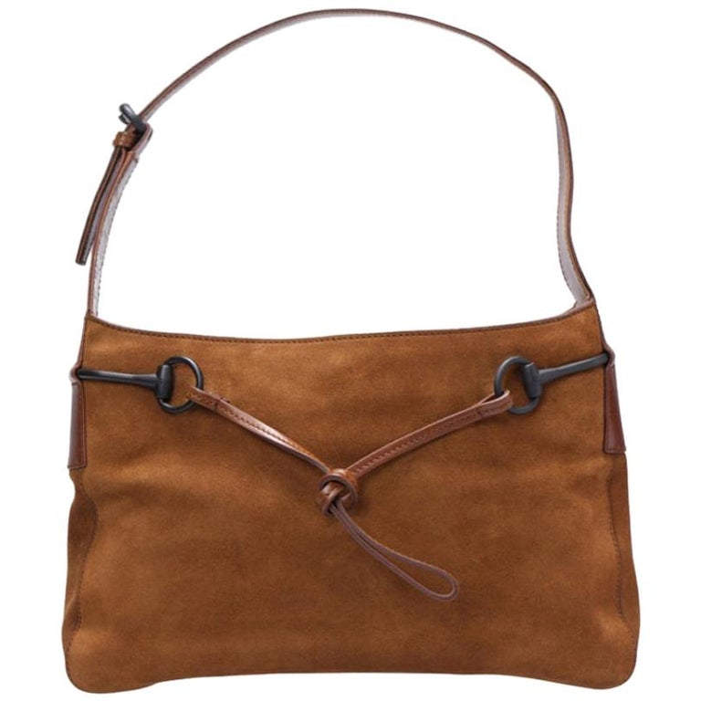 Gucci Brown Suede and Leather Horsebit Shoulder Bag For Sale