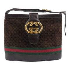 Gucci Brown Suede Bucket Bag with Leather Snap Closure