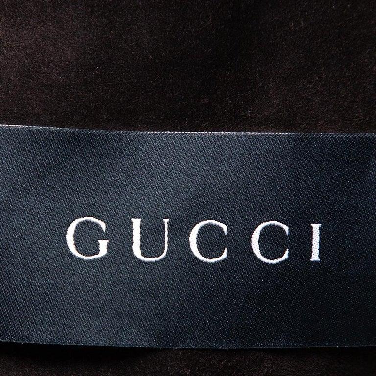 Gucci Brown Suede Button Front Long Jacket 3XL In Good Condition For Sale In Dubai, Al Qouz 2