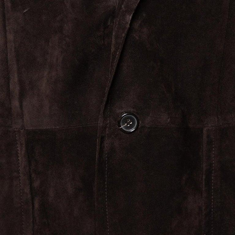Men's Gucci Brown Suede Button Front Long Jacket 3XL For Sale