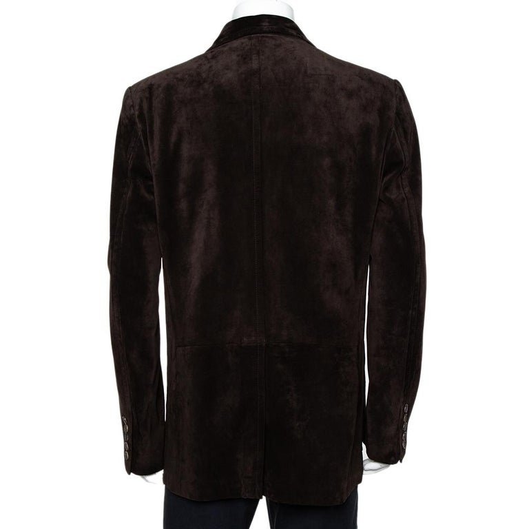 Gucci Brown Suede Button Front Long Jacket 3XL For Sale 1