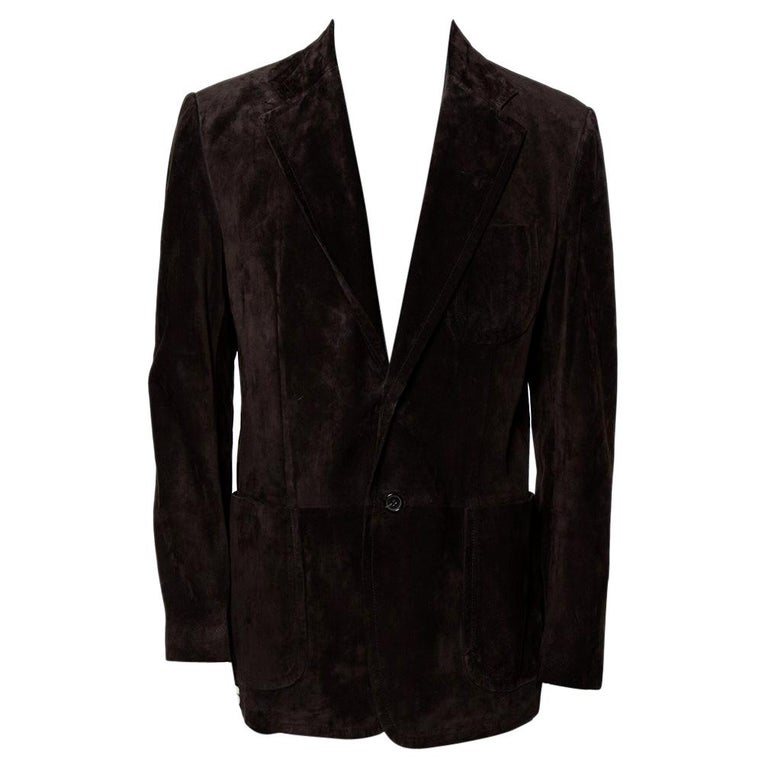 Gucci Brown Suede Button Front Long Jacket 3XL For Sale