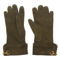 Gucci Brown Suede Cashmere-Lined Gloves