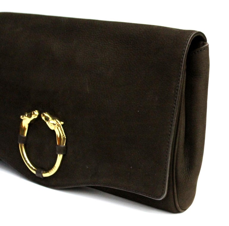 7767cbd50c7e4 Gucci Brown Suede Clutch Bag In Good Condition For Sale In Torre Del Greco