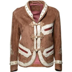 GUCCI Brown Suede Embroidered Jacket  IT40 US 2-4
