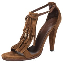 Gucci Brown Suede Fringe Bow Slingback Sandals Size 39.5
