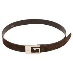 Gucci Brown Suede G Buckle Belt